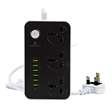 Christmas Travel Gadget Gift idea. Travel Extension lead 6 USB ports 3 Way Universal Power Socket Outlets