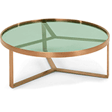 Christmas Home Decor Gift idea. Aula Coffee Table, Brushed Copper and Green Glass